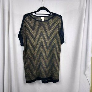 Chicos Size 1 Womens Sweater Sz 8 Gold Navy Knit
